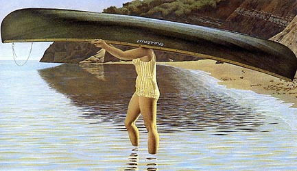 Woman Carrying Canoe, 1972