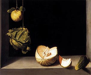 Still Life with Quince, Cabbage, Melon and Cucumber, c1600