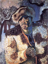 Self Portrait in Fur Cap Against Winter Landscape 1947
