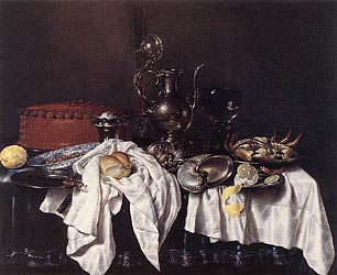 Stil Life with Pie, Silver Ewer and Crab, 1658