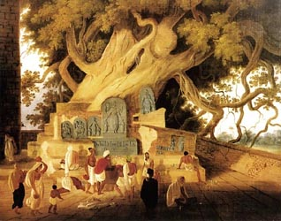 The Bodhi Tree at the Badh Gaya Temple - by Charles D'Oyly, c1830