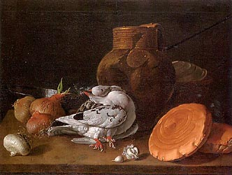 Still Life with Pigeons, Onions, Bread and Kitchen Utensils, 1772