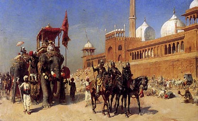 Great Mogul and his Court returning from The Great Mosque at Delhi, India, c1886