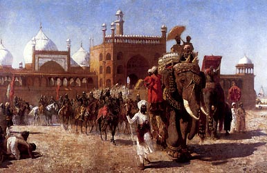 The Return of the Imperial Court from the Great Mosque at Delhi, in the Reign of Shah Jehan, 1886